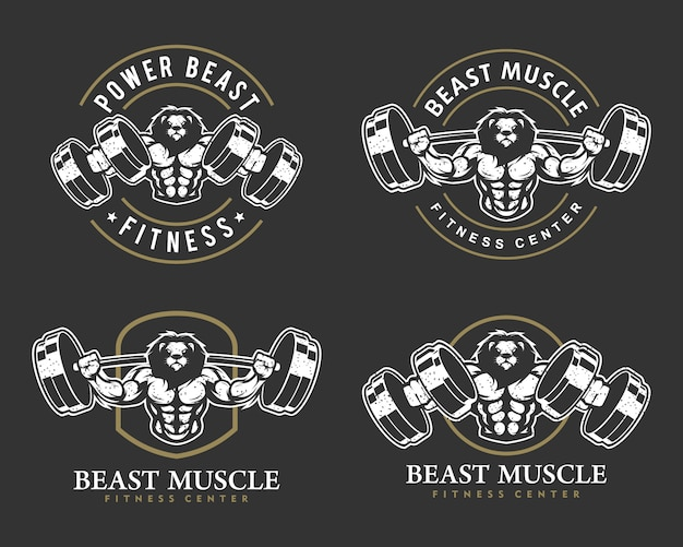 Lion with strong body, fitness club or gym logo set.