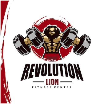 Lion with strong body, fitness club or gym logo.