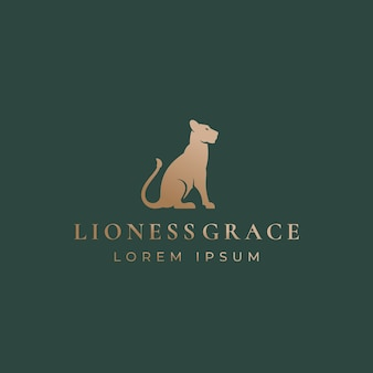 Lioness grace abstract  sign, emblem or logo template. Premium Vector