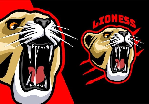 Lioness head mascot logo