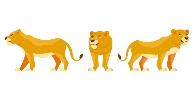 さまざまなポーズの雌ライオン。漫画のスタイルのアフリカの動物。