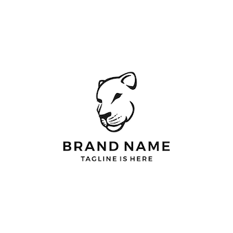 Lioness logo head illustration
