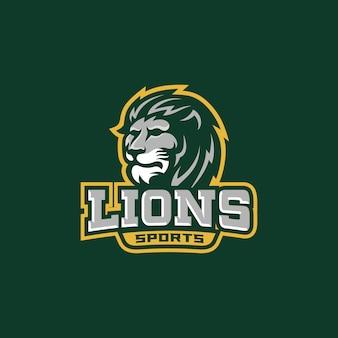 Lions head sport team logo template