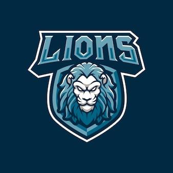 スポーツまたはeスポーツチームのためのライオンズマスコットロゴデザインイラスト