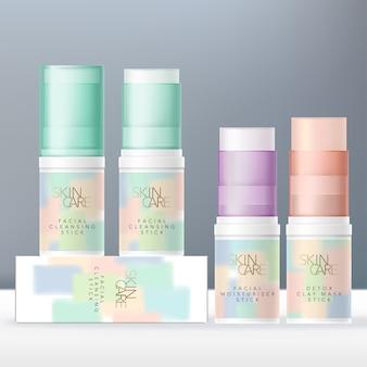 Бальзам для губ, чистящее средство для лица или косметическая глина-стик пастельный цвет полупрозрачная туба упаковка. пастельные абстрактные краски дизайн.
