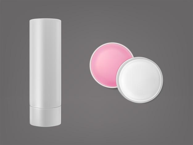 リップクリームスティックと丸い形