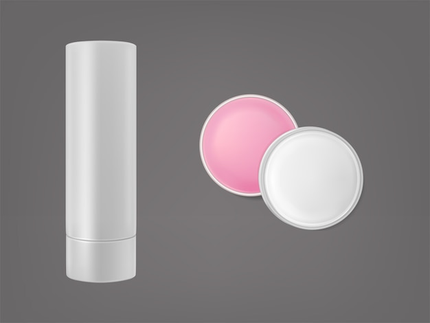 Lip balm stick and round shape