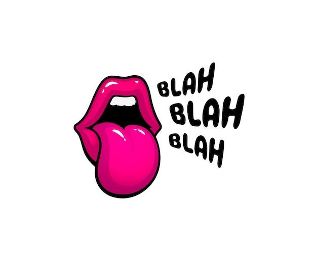 Наклейка с надписью lip blah. поцелуй сообщения. красные губы. векторная иллюстрация