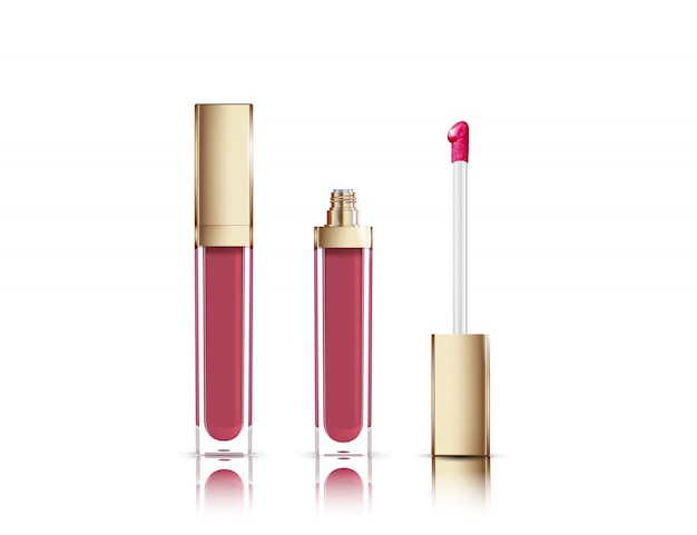 Lip gloss in elegant glass bottle with golden lid, closed and open container with brush