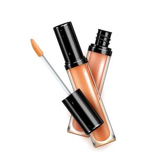 Блеск для губ косметический макияж для лица вектор аксессуаров. пакет пустых бутылок блеска для губ с кисточкой для покраски губ. гигиеническая помада роскошный шаблон пакета косметологии реалистичные 3d иллюстрации