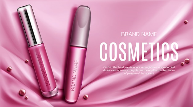 Lip gloss and mascara tubes promo banner
