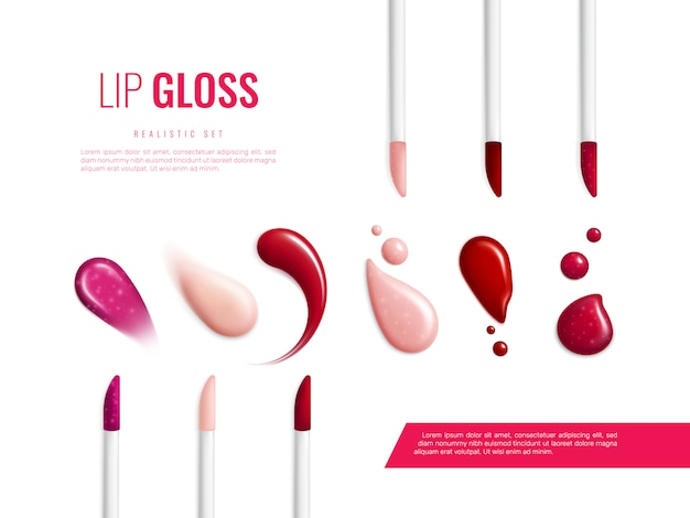Lip gloss smears color realistic banner with different swatch glitter and matte  illustration