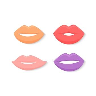 Lip icon vector design set