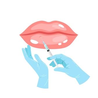 입술 주사. 만화 핑크 미적 아름다운 입술, 화장품 주입 의료 플라스틱 주사기, 피부과 및 미용 치료의 벡터 일러스트 개념
