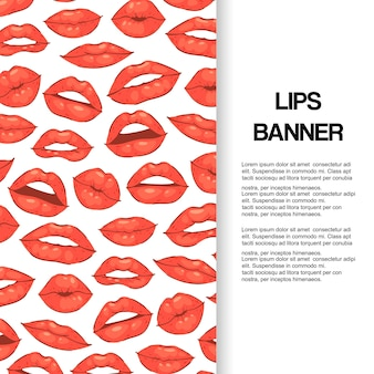 Lip kiss, open mouth with teeth banner