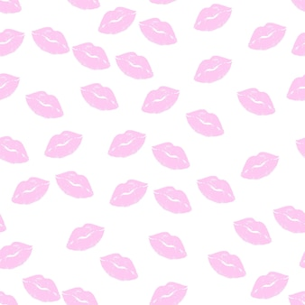 Lip seamless pattern. pink lipstick kisses silhouettes, different shapes of female sexy glamour lips. romantic endless print for valentines day, beauty and cosmetics vector background on white