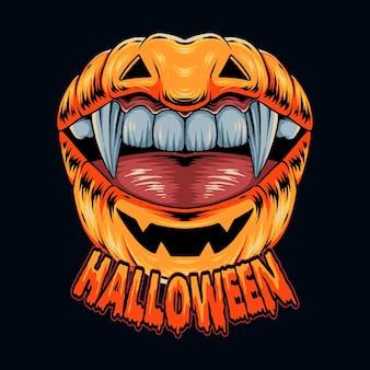 Lip shaped halloween pumpkin with pretty vampire teeth vecto