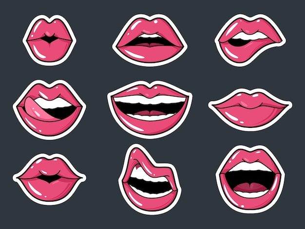 Lip stickers set. patch female lips and mouth with a kiss, smile, tongue and teeth, fashion sexy glamour collection badges elements isolated vector illustration