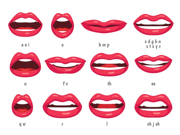 Lip sync animated phonemes for cartoon talking woman character sign.
