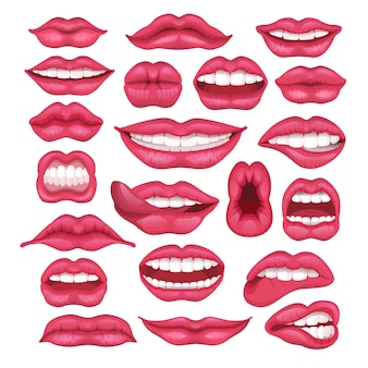 Lip vector cartoon beautiful red lips in kiss or smile and fashion lipstick and mouth kissing lovely on valentines day set illustration isolated