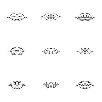 唇のベクトルを設定します。シンプルな唇の形のイラスト、編集可能な要素、ロゴデザインで使用できます