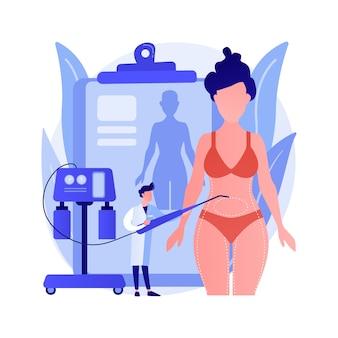 Illustrazione di vettore di concetto astratto di liposuzione. procedura di lipo, rimozione del grasso sottovuoto, chirurgia plastica, rimodellamento del corpo, standard di bellezza, perdita di peso, metafora astratta delle alternative di liposuzione.