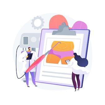 Illustrazione di vettore di concetto astratto di liposuzione. procedura lipo, rimozione del grasso sottovuoto, chirurgia plastica, rimodellamento del corpo, standard di bellezza, perdita di peso, alternativa alla liposuzione metafora astratta.