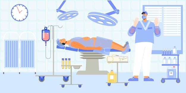 지방 제거 영역 표시가 있는 수술대에 환자가 있는 지방 흡입 수술 절차 평면 구성