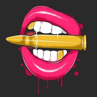 Lips beating bullet with blood and gold teeth artwork vector