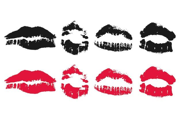 Lips imprint vector set.