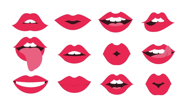 Lips kiss set sexy mouth smile female red cartoon smile lipstick glamour vector shape