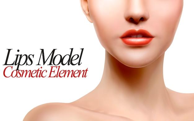 唇モデルの肖像画イラスト