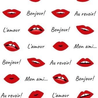 唇のパターンシームレスなセクシーな赤い女性の口の開閉