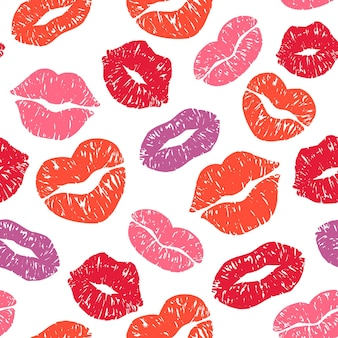 Lips print seamless pattern.