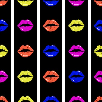 Lips seamless pattern. red lips on a black and white striped background. design for printing, textiles, wrappers, valentine's day.vector illustration