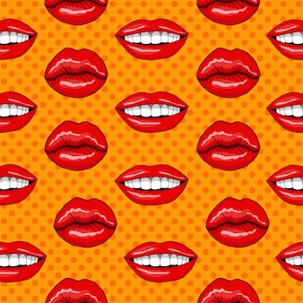 Lips seamless pattern in retro pop art style