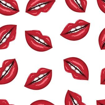 Lips seamless pattern on white