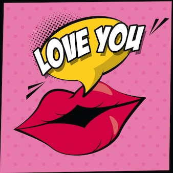 Lips with callout with love you text