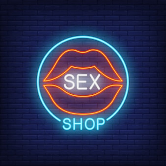 Lips with sex shop lettering in circle. neon sign on brick background.