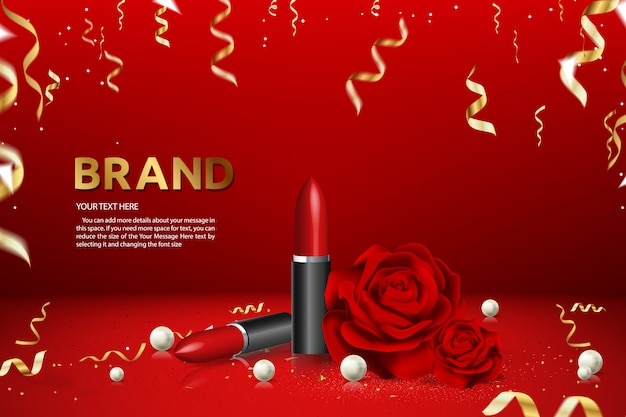 Lipstick advertising banner brand product adillustration