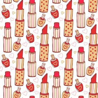 口紅とマニキュアの化粧品のパターン。ベクトル美しさのシームレスな背景