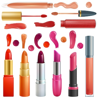 Lipstick beautiful red color fashion pink lipgloss lip makeup illustration set of shiny liquid female cosmetic isolated on white background