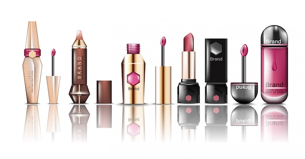Lipstick cosmetics mock up collection