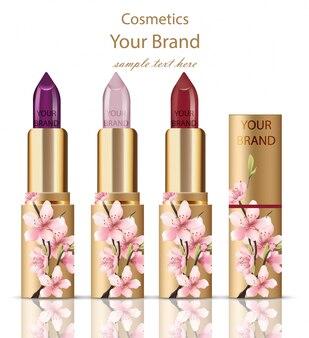 Lipstick cosmetics set realistic mock up. floral ornament decor, golden packaging original design. gold colors