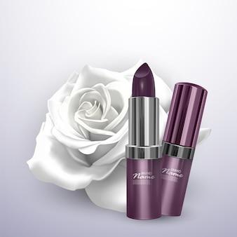 Lipstick in dark purple color in the realistic style