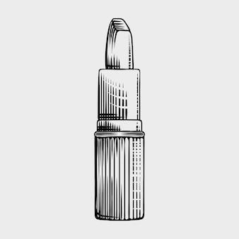 Lipstick  engraving style illustration