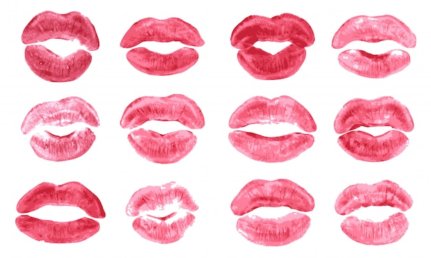 Lipstick kiss print isolated   set