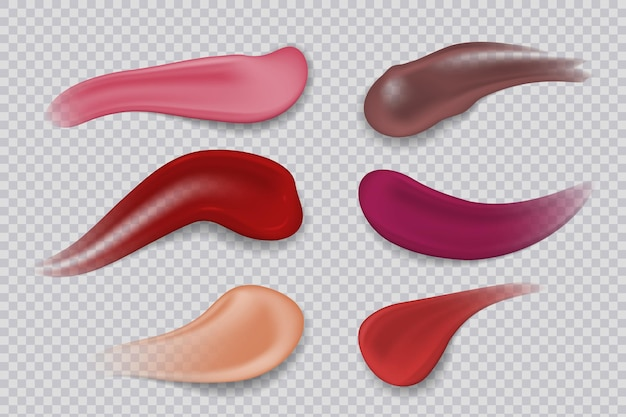 Lipstick smudge. realistic sample make-up product. lipsticks 3d strokes cosmetic smear. vector illustration gloss colors products decorative makeup for woman lips on transparent background