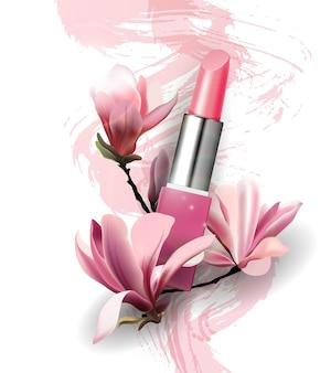 꽃 목련 봄과 아름다움 backgroundtemplate 벡터와 립스틱