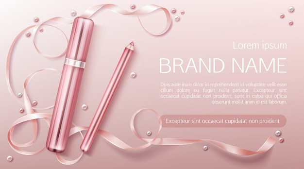 Lipstick with ribbon banner template
